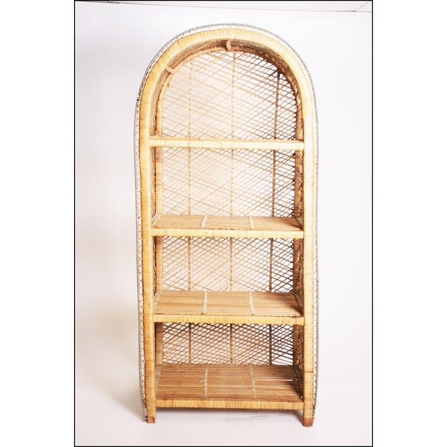 Vintage Boho Chic Wicker Bookcase with Dome Top For Sale - Image 5 of 11