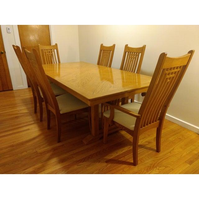 Oak Natural Finish Solid Oak Dining Set For Sale - Image 7 of 7