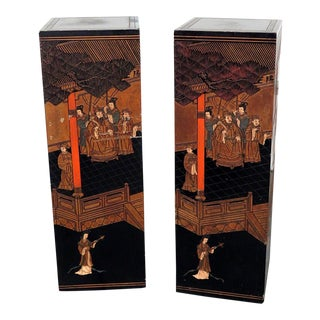Vintage Mid Century Ebonized Oriental Pedestals- A Pair For Sale