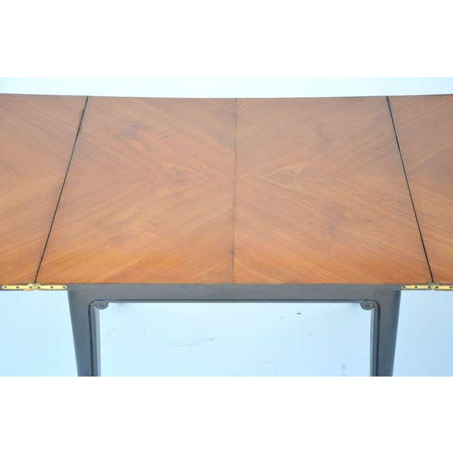 Brown Chic Ebonized French 1940s Folding Center or Dining Table For Sale - Image 8 of 10