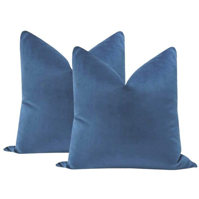 """2010s 22"""" Cadet Blue Velvet Pillows - a Pair For Sale - Image 5 of 5"""
