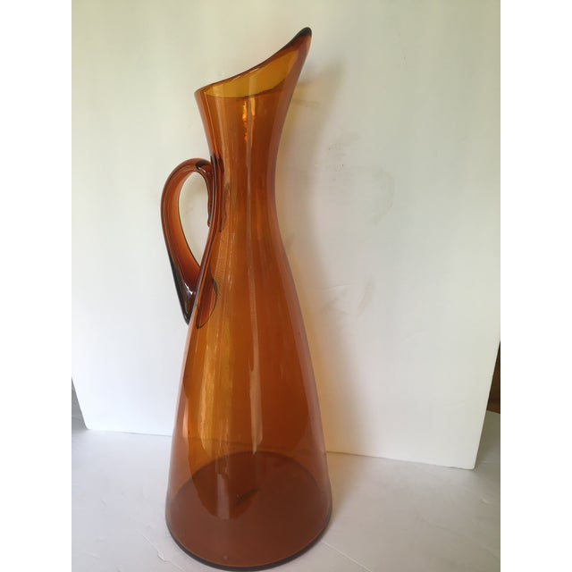 Orange Mid-Century Blenko Orange Pitcher Winslow Anderson For Sale - Image 8 of 9