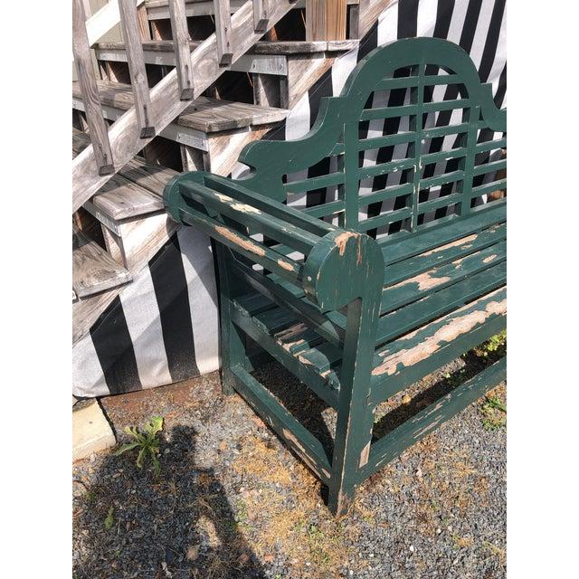 Wood English Edwardian Lutyens Style Bench in Teak For Sale - Image 7 of 10