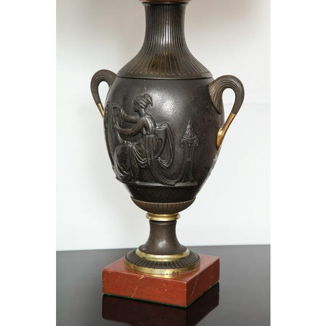 Pair of Antique French Bronze Urn Lamps in the Neoclassic Manner For Sale - Image 4 of 7