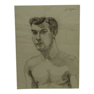 "1950 Mid-Century Modern Original Drawing on Paper, ""Sexy Topless Dandy"" by Tom Sturges Jr. For Sale"