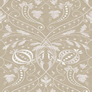 "Lewis & Wood Chateau Gilt Extra Wide 52"" Damask Wallpaper Sample For Sale"
