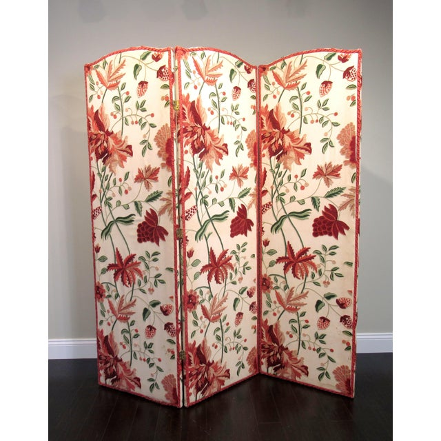 Here is a charming vintage three-panel room divider screen. Upholstered in Scalamandre fabric with a floral design. Each...