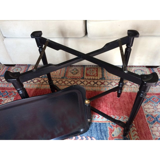 Black Tray Table With Gold Accents - Image 6 of 6