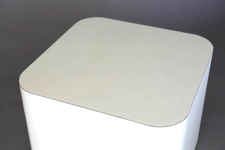 HighEnd CustomMade White Laminate Cubic End Table or Pedestal