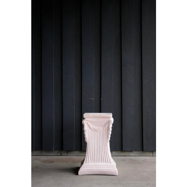 Pink Plaster Pedestal / Plant Stand / Side Table For Sale - Image 9 of 11