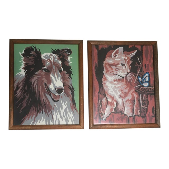 Vintage Framed Dog & Cat Paint by Number Paintings- A Pair For Sale