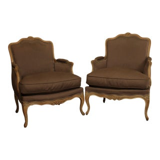 French Louis XV Style Vintage Custom Quality Pair Bergeres For Sale