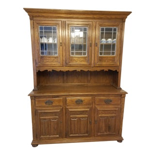 1960s Jacobean Ethan Allen Royal Charter Oak Server and China Hutch