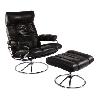 Ekornes Black Leather Lounge Chair and Ottoman For Sale