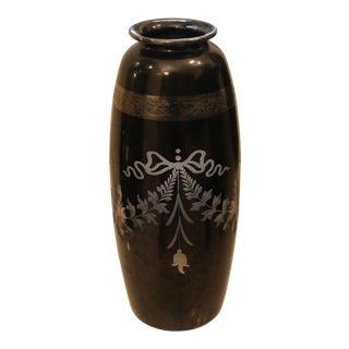 1930's Famed Hawkes Art Deco Steuben Black Vase For Sale