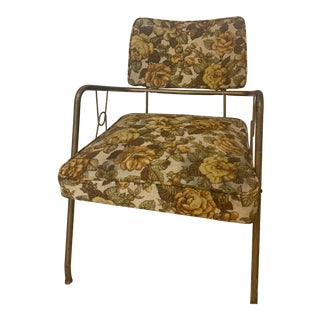 1970s Retro Tweed Floral Accent Chair For Sale