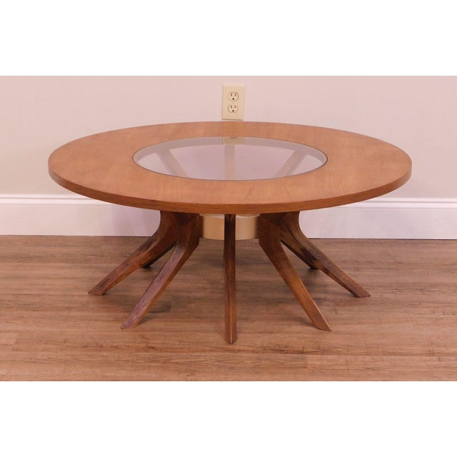 Broyhill Brasilia Mid Century Modern Walnut Cathedral Coffee Table For Sale In Philadelphia - Image 6 of 12