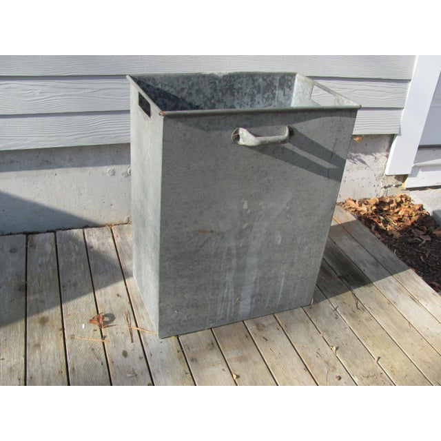 Industrial Style Galvanized Steel Waste Basket For Sale - Image 13 of 13