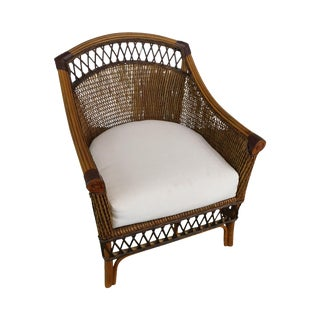 Wicker Rattan & Bamboo Club Chair For Sale