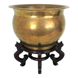 Vintage Brass Censer Planter on Chinese Wood Stand For Sale