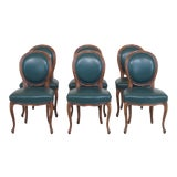 Image of 1990s Vintage Green Leather French Style Dining Room Chairs- Set of 6 For Sale