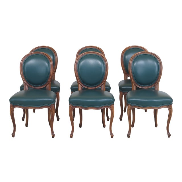 1990s Vintage Green Leather French Style Dining Room Chairs- Set of 6 For Sale