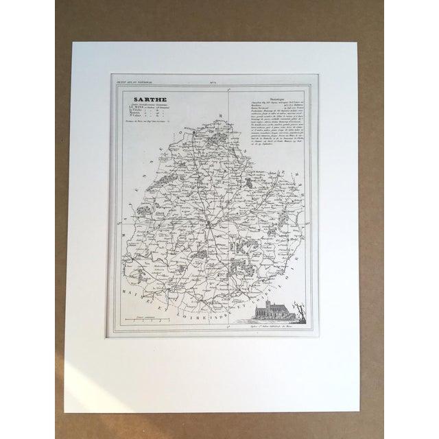 "Illustration 19th C. Map of Sarthe, France, ""Petit Atlas..."" 1833 For Sale - Image 3 of 3"