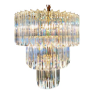 Three-Tier Lucite Prism Waterfall Chandelier C1970 For Sale