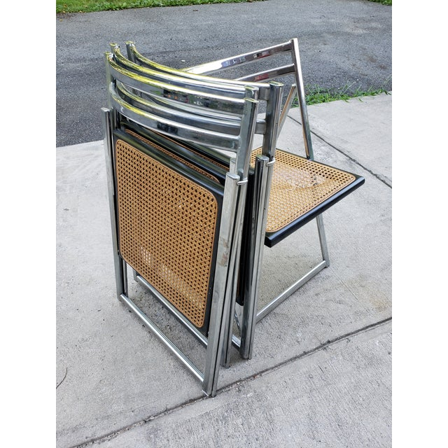 Mid Century Modern Chrome & Cane Folding Chairs- Set of 4 For Sale - Image 12 of 13