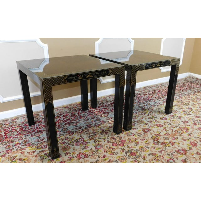 Pair Drexel Heritage Et Cetera Collection Chinoiserie Square Living Room Side Tables 1980s