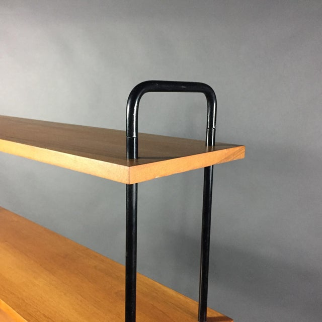 "Black 56"" Blackened Steel and Birch Standing Shelf, Switzerland, 1950s For Sale - Image 8 of 11"