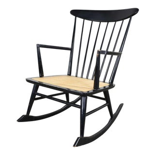 Mid Century Scandinavian Modern Style Spindle Back Rocking Chair Black With Cane Seat For Sale