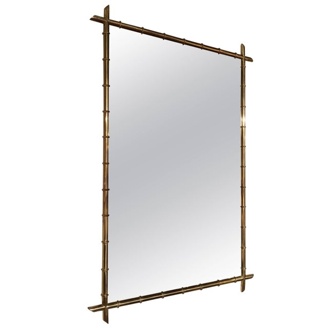 Brass Hollywood Regency Faux Bamboo Brass Mirror For Sale - Image 8 of 8