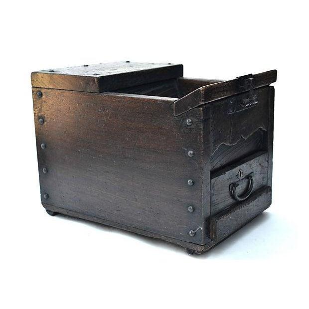 Antique Japanese Keyaki Money Box - Image 2 of 7