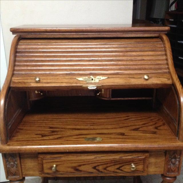 Eagle Craft Oak Roll Top Secretary Desk For Sale - Image 4 of 11