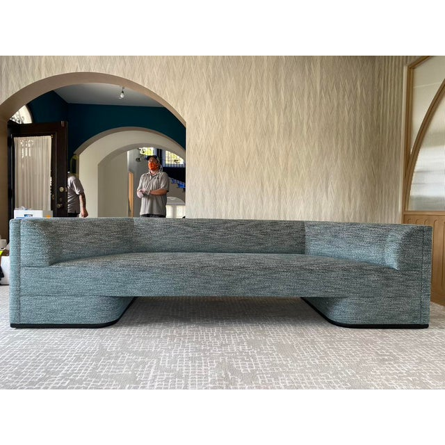 Featured in The 2020 San Francisco Decorator Showcase — Custom Shaped Teal Settee For Sale - Image 12 of 12