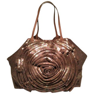 Valentino Tan Sequin Petal Flower Tote Bag For Sale