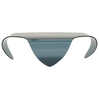 All Glass Coffee Table, Biomorphic, Sculptural Blue/Gray Glass Form For Sale