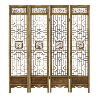 Chinese Flower Birds Carving Window Pattern Wood Panel Floor Screen For Sale