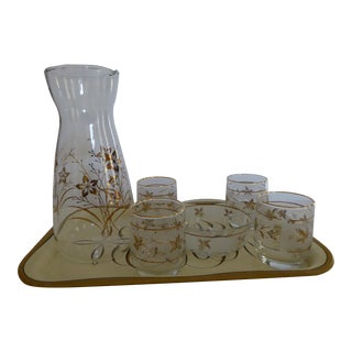 Mid-Century Gold Tray, Carafe & Glasses - Set of 7
