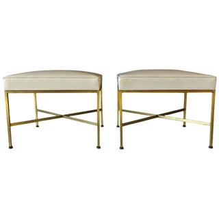 Paul McCobb Brass X-Base Ottomans - A Pair