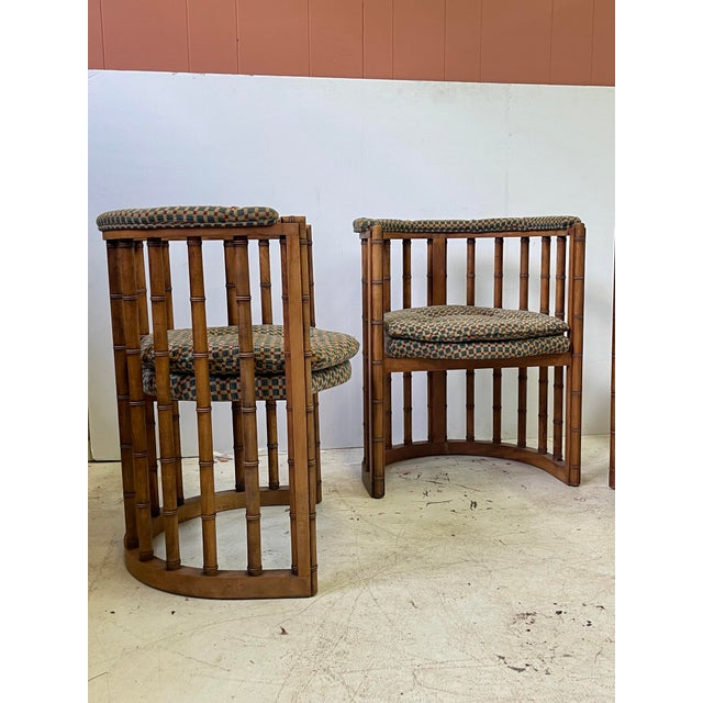 Vintage Set of 4 Bamboo Barrel Back Game Chairs For Sale - Image 4 of 13