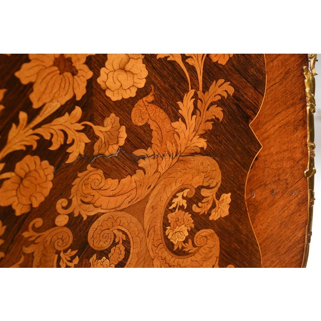 Gold Late 19th Century Louis XV-style Marquetry Chest of Drawers For Sale - Image 8 of 10