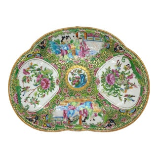 Chinese Rose Mandarin Crescent-Shaped Bone Dish, Canton, Circa 1890 For Sale
