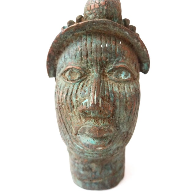Benin Bronze Brass Head of Oba Nigeria African - Image 2 of 7