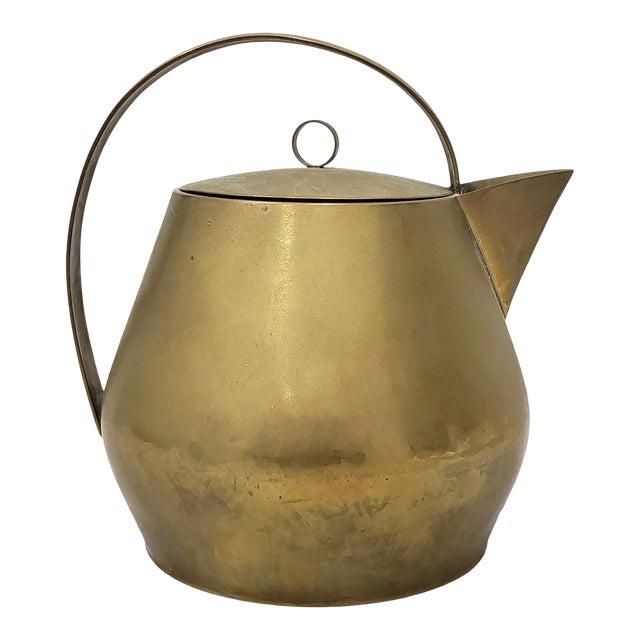 Hayno Focken (Germany, 1905-1968) Brass Teapot W/ Lid C.1930 For Sale