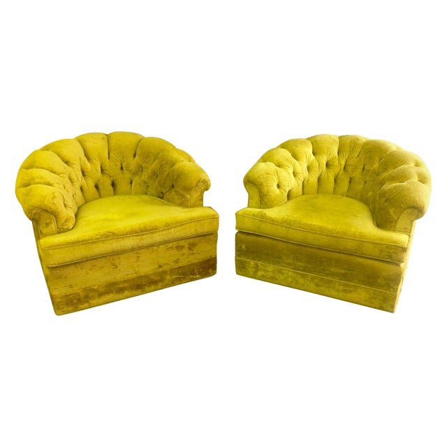 Mid-Century Tufted Chartreuse Club Chairs - A Pair - Image 1 of 8