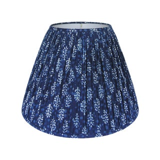 Gathered Lamp Shade, Indigo Blue Block Print For Sale
