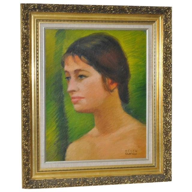 Helen Clark Oldfield 1970 Modern Portrait Painting For Sale