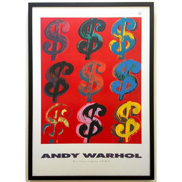 """Andy Warhol Estate Rare Vintage 1989 1st Edition Lithograph Print Large Framed Pop Art Poster """" Dollar Signs """" 1982 For Sale - Image 13 of 13"""